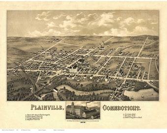 Plainville Connecticut 1878 Birds Eye View CT Reprint