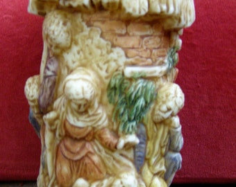 "Beautifully Detailed Nativity / Holy Family /Christmas Wax 3-D Candle - 6"" Tall - Unused"