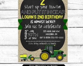 Boy Birthday Party Invitation, Tractor Birthday Party Invitation, Birthday Party Boy Invitation, John Deere Birthday, Printable Birthday Boy
