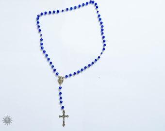 royal blue glass bead Rosary