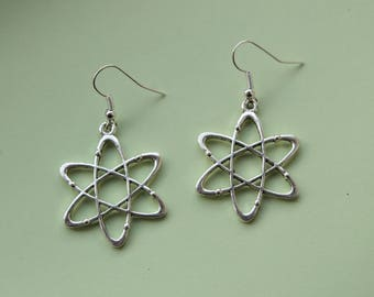 Geeky Atom Earrings || Silver toned science nerd chemistry jewellery