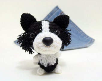 Amigurumi miniature Border Collie, crochet Border Collie. Cute Border Collie plushie. Border Collie plush toy.
