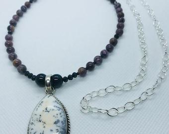 Dalmation Jasper pendant & Chaorite beads on silver chain