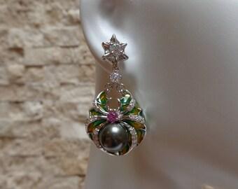 Black Pearl, Enamel and Pink Zircon earrings in Sterling Silver