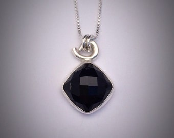 Sterling Silver Faceted Black Onyx Necklace