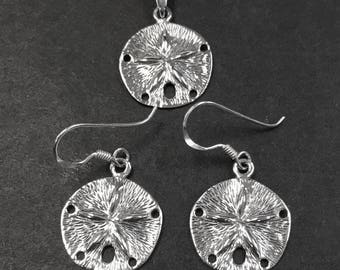 925 Solid Sterling Silver SAND DOLLAR  Earrings-Dangling-Beach