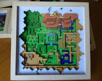 The Legend of Zelda A Link to the Past map Light World shadow Box Diorama