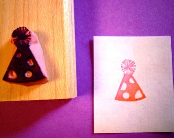 Party hat rubber stamp// hand carved and hand crafted