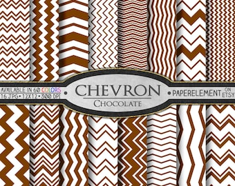 Chocolate Digital Chevron Paper Pack - Instant Download - Printable Paper with Chevron Pattern for Digital Scrapbooking