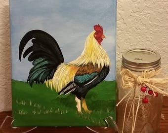 8x10 Acrylic Original Rooster Painting