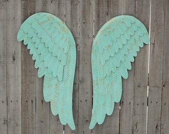 Metal Angel Wings Wall Decor, Large, Shabby Chic, Mint Green, Gold, Upcycled, Hand Painted, Shabby Chic, Wedding, Nursery, Custom Color