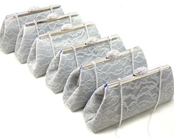 Bridesmaid Clutches SALE 5% OFF Set of Six Platinum Grey and Lavender Bridesmaid Gifts, Bridal Clutch, Mother Of The Bride Gift, Wedding Bag
