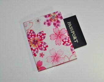 Floral Passport Cover- Midori Passport Notebook Case - Pink Sakura Passport Holder - Gift for Her - Gift for Traveler - Gifts Under 10