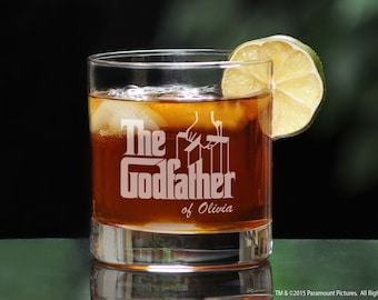 Godfather Whiskey Glass, Unique Will You Be My Godfather Gift, Scotch Glass with Godfather Movie Personalization, Baptism or Birthday Gift