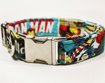 "Marvel comic book with iron man, hulk, spiderman, and captain america dog collar - ""MARVEL-ous"""