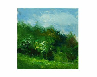 Skyline - ORIGINAL oil painting, one of a kind, impressionist painting, plein air, Vanya Volzhsky, summer art, landscape art, home decor