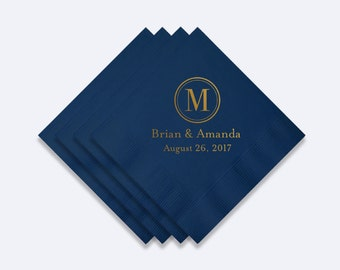 Custom Monogram Wedding Napkins - Foil Stamped Napkins