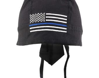 Thin Blue Line American Flag Embroidered Headwrap (55187)