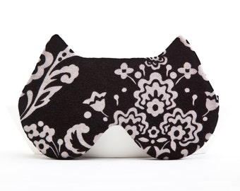 Flowers Sleep Mask, Cat Lover Gift, Black Mask, Gifts for Travelers, Gifts for Her Under 20, Valentines Day Gift for Her, Womens Accessories