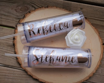 Bridesmaid Gift -  Wedding - Personalized Tumbler -  - Bridesmaid Tumbler - Bachelorette Party - Bridal Shower Gift - Tumbler With Straw