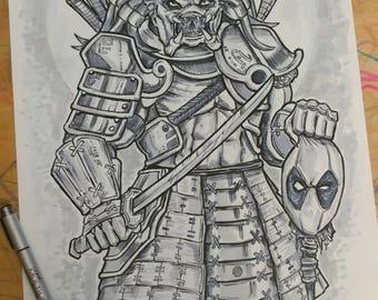 Predator Samurai vs. Deadpool Original Drawing 11X17 Bristol