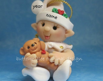 Baby Elf with Teddy Bear Baby's 1st Christmas Ornament First Christmas Teddy Bear Ornament Glittered Personalized Baby Ornament