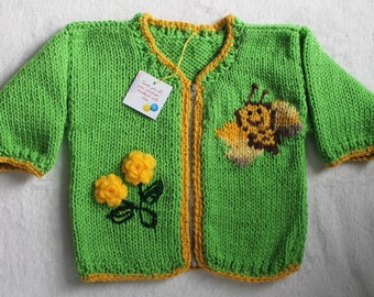 Hand-Knit Spring Sweater Cardigan for Babies (18-24 months), Acrylic.
