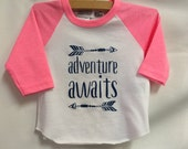 "Girls Infant Raglan Shirt with ""Adventure Awaits&q..."