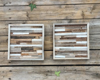 Modern stone and reclaimed wood wall art / rustic wood wall art  / framed wall art / wood wall art / barn wood art / rustic decor / marble