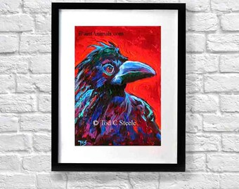 """Crow Painting, Crow Art Print, 'Russell Crow', 10x8"""", from Original Painting by Tod C Steele"""