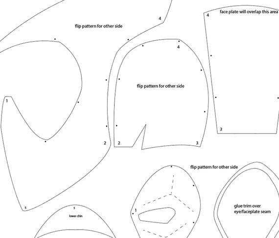 Deadpool foam helmet templates