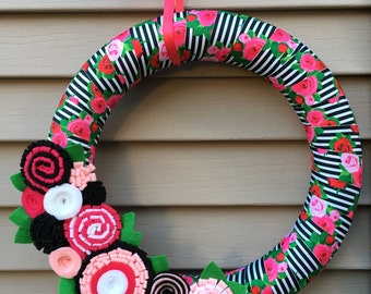 Spring Wreath - Summer Wreath - Rose Wreath - Felt Flower Wreath - RIbbon Wreath - Mother's Day Wreath - Felt Wreath - Spring Felt Wreath
