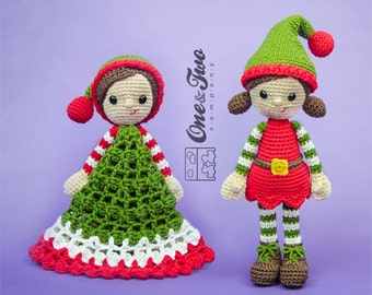 Combo Pack - Jingle and Belle Santa's Helper Lovey and Amigurumi Set for 7.99 Dollars - PDF Crochet Pattern Instant Download - Special Offer