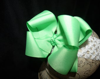 Hairbow Mint Double Layered Boutique Bow and Interchangeable Headband Newborn Toddler Older Girl