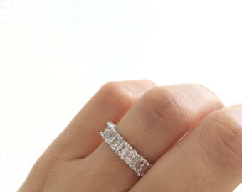 Garnet and Cubic Zirconia Wedding Band Rose Gold Silver