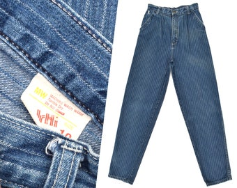 Vintage High Waisted Jeans Pinstripe Dark Denim Jeans Slim Fit 70s Mom Jeans High Waist Pleated Jeans Taper Leg Jeans Striped Jeans 25 W XS