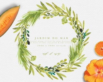 Watercolor Tropical Wreath - Tropical Wreath clipart - Greenery clipart - Greenery Wreath - Wild Flowers Wreath - Wild Flowers Clipart