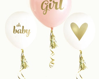 It's a Girl Baby Shower Balloons - Oh Baby Balloons - Its a Girl Bridal Shower, Gender Reveal Balloons, Baby Shower Balloons
