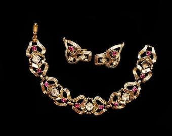Coro Rhinestone Bracelet & Earrings Set, Vintage Demi Parure Signed, Pink White Rhinestones, Costume Jewelry, Gift for Her