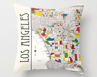 Los Angeles Throw Pillow - Street Map - retro - colorful , Hollywood, Beverly Hills,  decor, travel,  den, dorm, bedroom