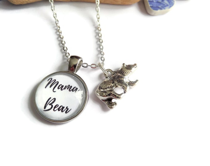 Mama bear necklace, mum gift, mother necklace, mama gift, bear necklace, love kids necklace, protector necklace, heart necklace