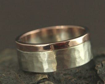 8mm Wide Men's Band--Hammered Band--Two Tone Band--Rustic Ring--Rustic Band--Rustic Wedding--Men's Band--Men's Ring--Unique Wedding Ring