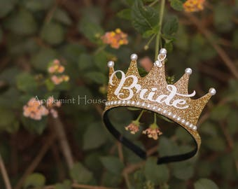 Bride Crown,Bachelorette Party Bride Crown, Bride Headband,Bride,Bride Gold Crown,Bridal Crown,Bachelorette Crown,Bachelorette Party Crown