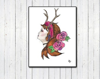 "Forest Girl Watercolor Print, 8x11, 11x14"", Illustration, Flowers, Girl with Antlers, Girly Prints, Roses, Watercolor Prints, Tumblr, Home"