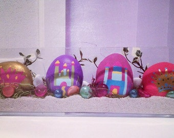 Princess decor, Nursery decor, Rock art, Crown, Princess, Princess Castle, Painted Rocks, painted stones, girls room decor, Castle, girls