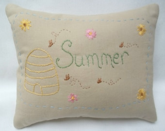 Summer Hand Embroidered Primitive Mini Pillow,  Bee Skep, Honey Bees, Flowers