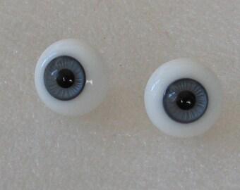 1 Pair 16mm Kais German Glass Doll Eyes  Grayish Blue Paperweight