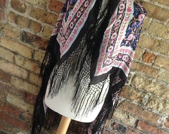 "Vintage Indian Silk black Floral Fringed Piano Shawl Scarf 46"" x 40"""