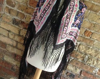 "Vintage Indian Silk black Floral Fringed Piano Shawl Scarf 46"" x 40"""