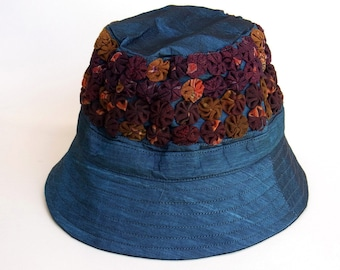 Womens Hat Bucket Hat Travel Holiday Hat Patchwork Embroidered Silk Fabric Hat Multi Color Summer Spring Hat Teal Blue Sk4